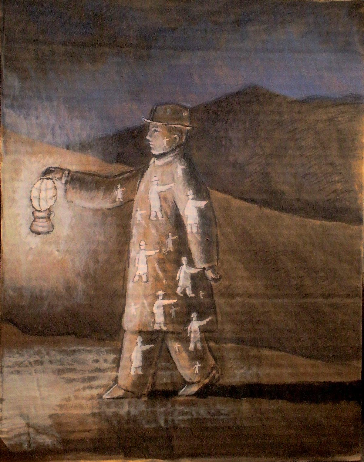 Esplorazione, tempera e carboncino su cartone, 2012