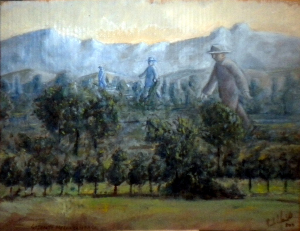 Giganti in campagna /Giants in the countryhood. Olio su cartone, 2013