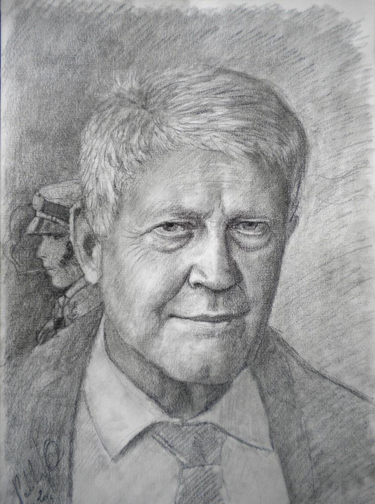 Hugo Pratt, carboncino su carta 35x50