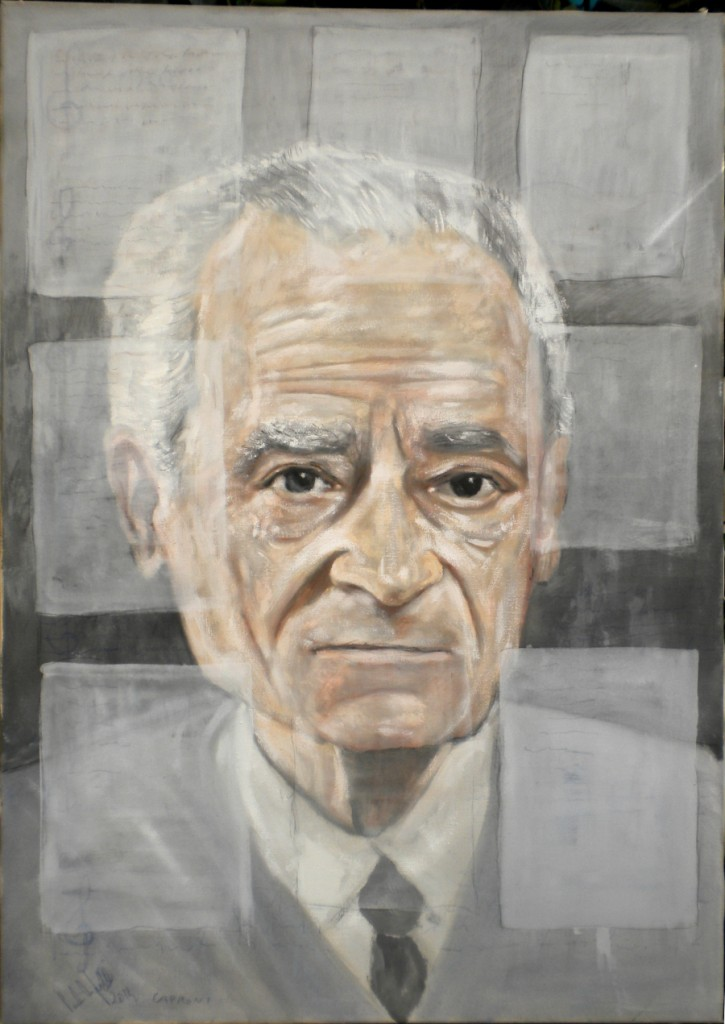 Giorgio Caproni, tempera su tela 70x100