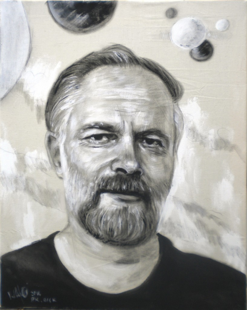 Philip K. Dick. tempera su tela 60x80
