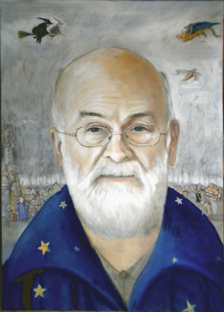 Terry Pratchett, tempera su tela 70x90