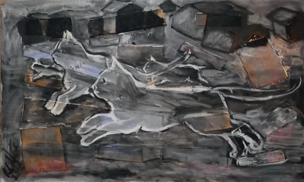 Notte, tempera e collage su legno, 60x35