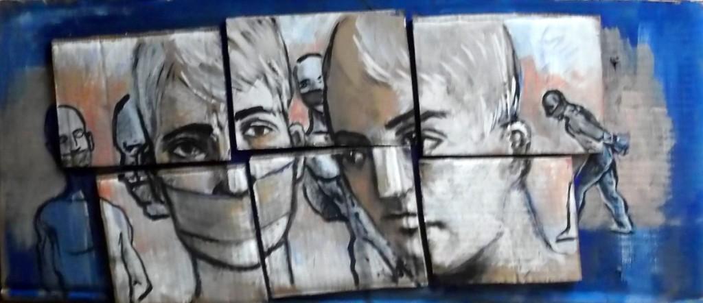 Prigionieri, tempera e collage su cartone, 60x30