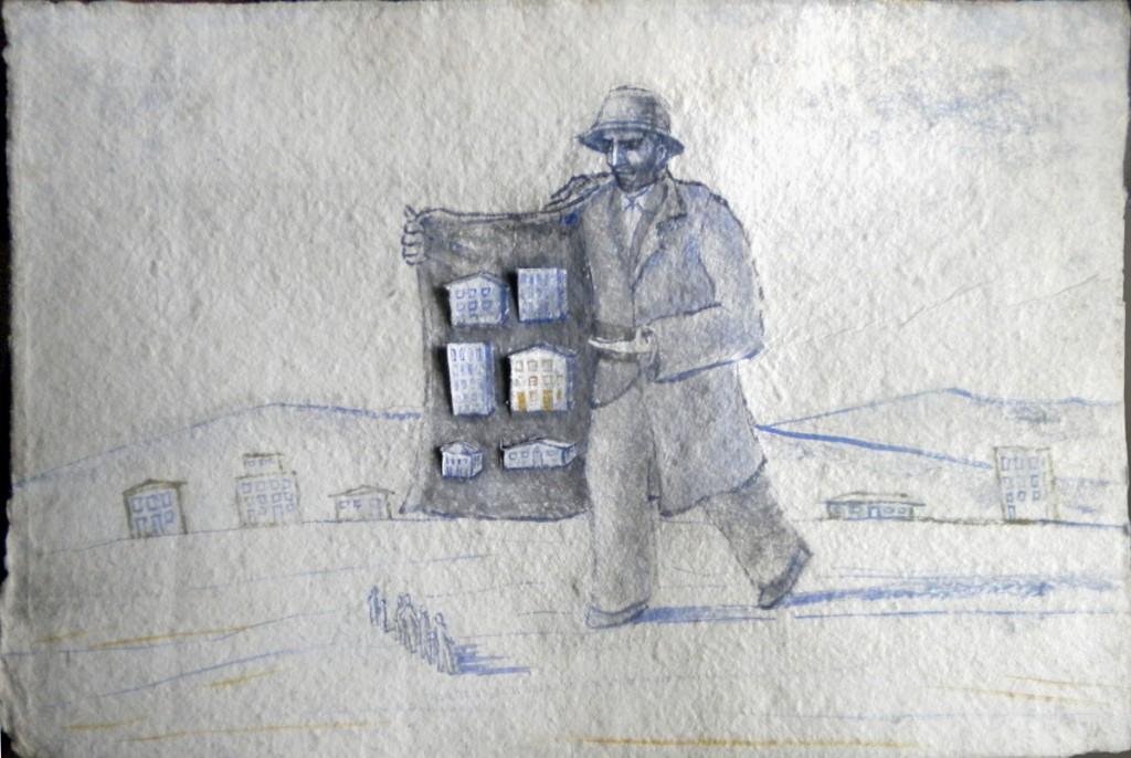 Venditore di case, tempera su carta fatta a mano, 50x35, 2014
