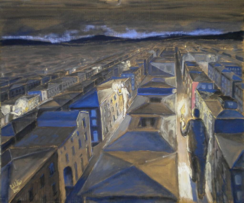 Giganti di notte, tempera su cartone, cm 90x85, 2014