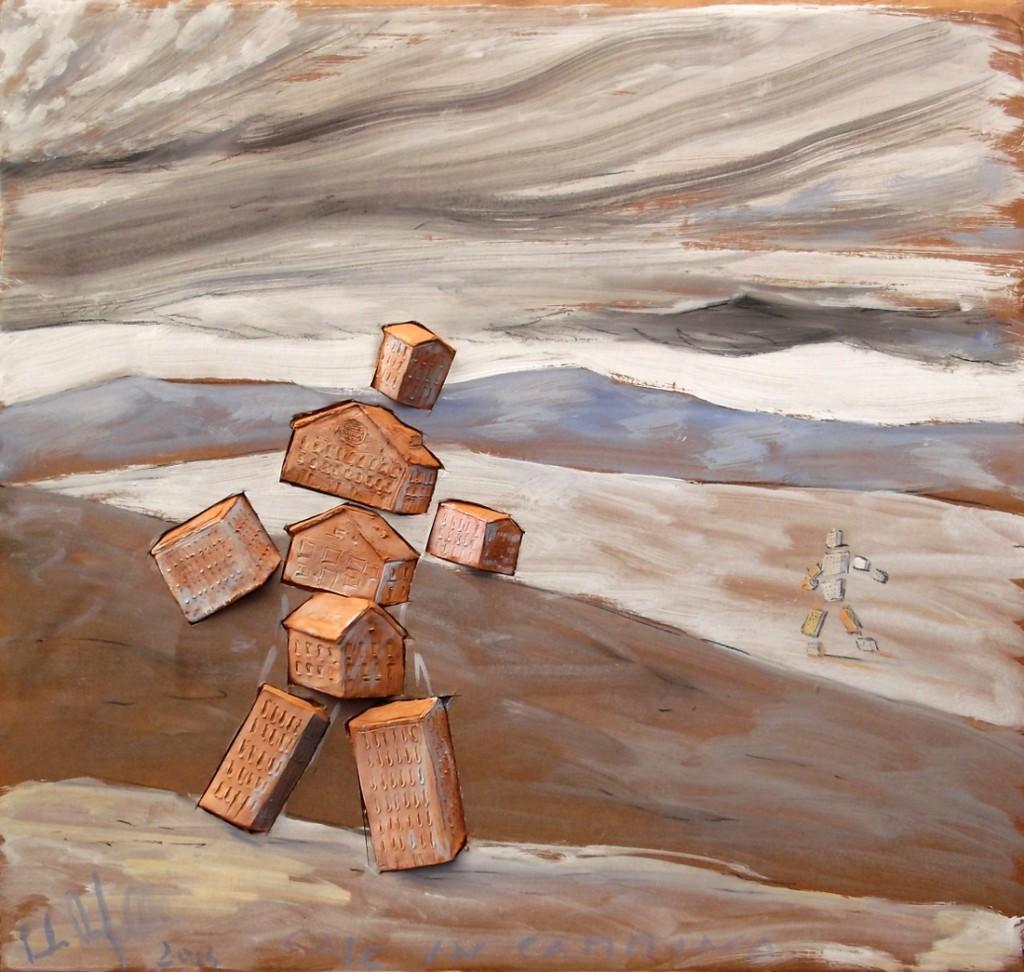 Case in cammino, terracotta e tempera su cartone, cm 60x60, 2014