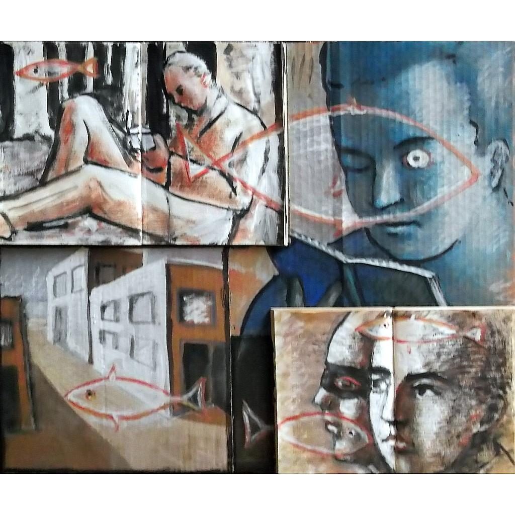 Polittico 5, tempera e collage su cartone, 60x55